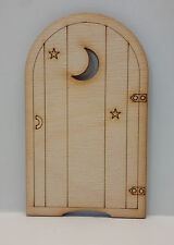 1 x Single Moon Design Wooden Fairy Door in 3mm Birch Plywood