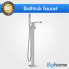 Bathroom Chrome Floor Standing Free Standing Mount Bath tub Mixer Tap Faucet 020