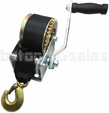 600lbs Hand Winch Hand Crank Strap Gear Winch ATV Boat Trailer Heavy Duty NEW