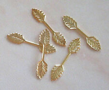 20 large (35mm) gold plated leaf bails, findings for jewellery making crafts