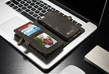 iPhone 6 6S 7 Plus Leather Case Removable Zipper Wallet Magnetic Flip Card Cover