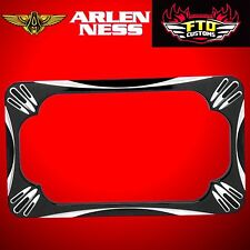 Arlen Ness Motorcycle License Plate Frame Deep Cut Black 12-159