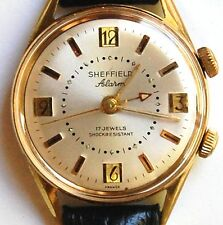 RARE MEN'S VINTAGE SHEFFIELD MECHANICAL ALARM WATCH 17JEWEL WORKS WELL