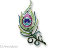 Zarah Zarlite Peacock Feather PIN Silver Plated Enamel Brooch Gift Wrapped Box
