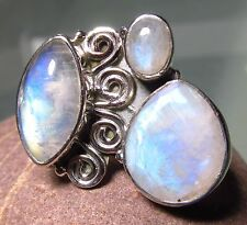 Indian 925 silver cocktail cab & cut rainbow moonstone ring UK M½/US 6.5