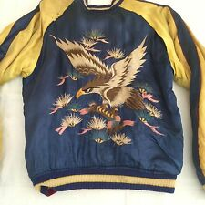 Vintage WWII Japanese Reversible Silk Embroidery Tour Bomber Jacket