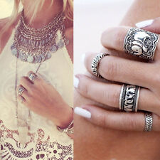 4 Ringe Set Elefant Ethnic Punk Hard Rock Vintage Antik Boho Silber Midi Ring