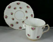 Old Royal English Bone China Teacup and Saucer Pink Rosebuds