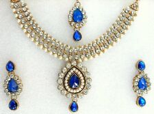 Ethnic Bollywood India Gold Plated Pearls Blue Jewelry Necklace Earrings Set