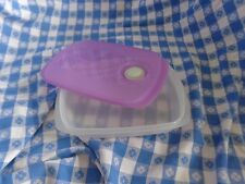 New Tupperware Crystalwave Lunch Box Reheatable Container Purple Seal