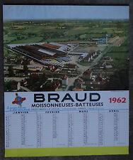Calendrier 1962 BRAUD moissonneuse batteuse tractor tracteur calendar Kalender