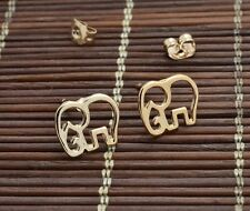 Free Gift Bag Gold Plated Elephant Animal Stud Earrings Ladies Jewellery Xmas