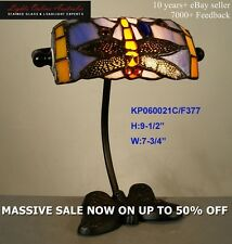 TIFFANY STAINED GLASS DRAGONFLY BANKERS DESK LAMP