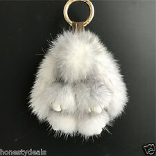 11cm White/Black Real Mink fur Rabbit Bunny Bag Charm Key Chain Phone Pendant
