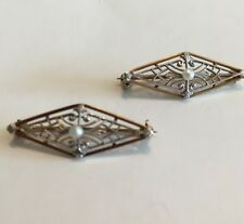 2 Vintage Edwardian 14k Yellow & WhiteGold Pearl Filligree Brooches Pair