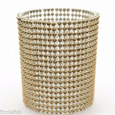GOLD Faux CRYSTAL Covered Glass Small TEA LIGHT Candle Holder Height 8.5cm