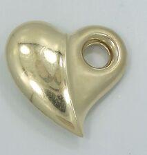 Gorgeous 14K Yellow Gold Puffy Modern Heart Necklace Pendant B2146