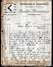 """BELLENAVES (03) CHARPENTIER / BOIS & TUILES """"BARDIN & ROUMEAUX"""" en 1908"""