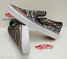 New Women's Vans Classic Slip On City Black True White VN-0XG8EPE Size: 7.5