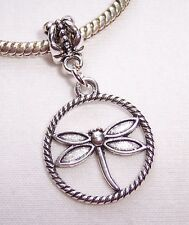 Dragonfly Pendant Insect Circle Dangle Bead fits Silver European Charm Bracelets