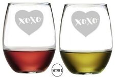 HEART XOXO Set 2 Etched Stemless Red White Wine Glasses Monogrammed Engraved