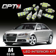 OPT7 10pc Interior LED Light Bulbs Package Kit for 02-08 Audi A4/S4 CanBus White