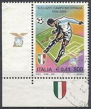 2000 ITALIA USATO LAZIO CAMPIONE D'ITALIA DI CALCIO DOPPIA APPENDICE IN BASSO SX