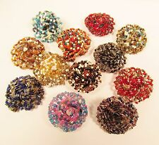 12 PCS Flower Bling Handmade Beaded Stretch Rings WHOLESALE LOT Assorted Colors