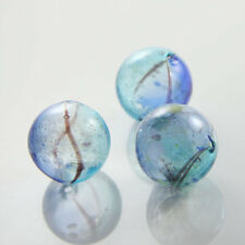 4pcs Hand Blown Hollow Glass Beads-Round - Blue with Multiple Colors 25mm (23H1)