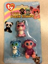 Ty Beanie Boos Puzzle Erasers - Package of 3 - Zoey, Grapes & Leona - FREE SHIP