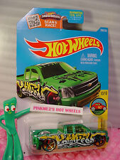 Case J 2016 Hot Wheels CHEVY SILVERADO #200✰Green/Yellow Truck✰HW Art Cars