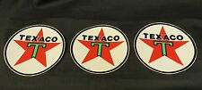 "Lot of 3 Vintage Circle Texaco Oil Company Stickers 3"" Diameter Star w/Green T"