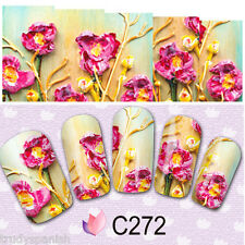 Nail Art Water Decals Wraps Pink Petals Floral Flowers Decoration Gel Polish 272