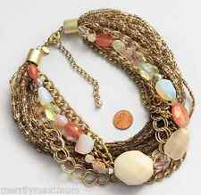 Chicos Signed Necklace Gold Tone Chain Bead Statement Bib White Stone Pink NWOT