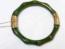 CHINESE VINTAGE STERLING SILVER NATURAL Carved JADE BANGLE, 35 GRAMS