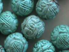 8 Big Oriental Carved Turquoise Magnasite Beads 18 MM Carved w Shou Symbols NICE