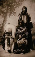""" Brave and Family "" Ute Indian Parents & Child c1898 - Native American Postcard"