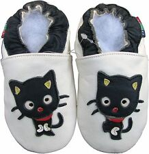shoeszoo black cat white 12-18m S soft sole leather baby shoes
