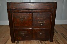Antique 4 Drawer Oak Library Card Catalog Cabinet Dovetailed Macey