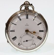Antique Pocket Watch 1900 Solid Silver Fusee Lever. Serviced
