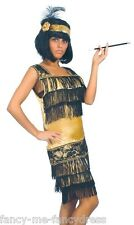 Ladies Sexy Black Gold 1920s Flapper Gatsby Fancy Dress Costume Outfit 14-16-18