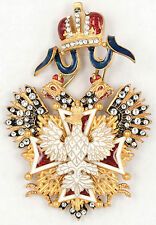 RUSSIAN IMPERIAL ORDER OF THE WHITE EAGLE CROSS WITH SWAROVSKI CRYSTALS