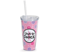 Love to Dance Pink and Purple Insulated Tumbler Cup 20 oz Clear Lid and Straw