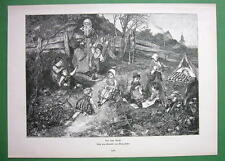 CHILDREN Play Behind Village Girl Knitting Needlework - VICTORIAN Antique Print