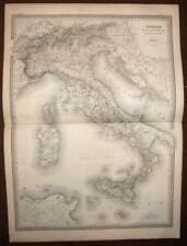 Carte géographique ancienne de l'Italie generale, par DUFOUR  en 1857