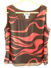 Dana Kay Red & Black Patterned Lined Scoop Neck Sleeveless Shell, Sz. 16W