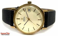 Vintage Omega 14K Yellow Gold Swiss Automatic Black Lizard Strap Men's Watch
