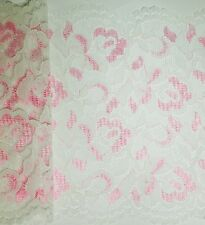 3 Metres lenght of White & Pink Double Edge Lace –Approx 160mm (16cm) width