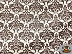 "Burlap Polyester Damask Print Fabric WHITE / 60"" Wide / Sold by the yard"