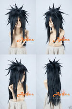 NARUTO Uchiha Madara Black Long Anime Cosplay Costume Wig +Free CAP